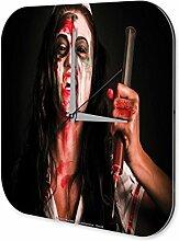 Wanduhr Retro Deko Gothic Blut Krankenschwester Dekouhr 25x25 cm