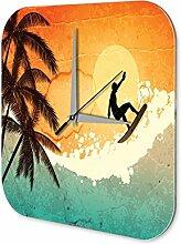 Wanduhr Retro Deko Surf Riders Dekouhr Vintage Nostalgie