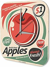 Wanduhr Retro Wand Uhr Äpfel Dekouhr Acryl Uhr Retro