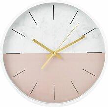 Wanduhr, rosa und grau in Marmoroptik D31