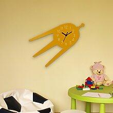 Wanduhr Satellit-Gelb, Kinderuhr, Uhr für Kinderzimmer
