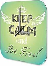 Wanduhr Sprüche Keep Calm be Free Acryl Wand Deko Uhr Retro