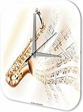 Wanduhr Star Deko Saxophon Noten Acryl Fun Uhr Vintage Retro