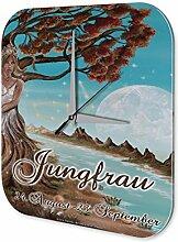 Wanduhr Sternzeichen Marke Jungfrau Acryl Wand Uhr 25x25 cm