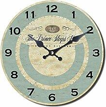 Wanduhr THE PRINCE SLEEPS HERE hellblau für kleine Prinzen Uhr Kinderzimmer