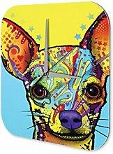 Wanduhr Tierheim Chihuahua Acryl Wanddeko Vintage Retro