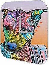 Wanduhr Tierheim Hund mit Zeitung Acryl Wanddeko Vintage Retro
