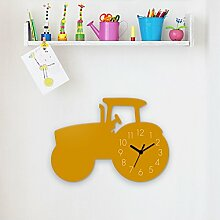 Wanduhr Traktor-Gelb, Kinderuhr, Uhr für Kinderzimmer