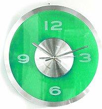 Wanduhr Transparent - Grün | Modern | Wanddekortion Wohnzimmer | Küchenuhr | Design | Geschenk für Männer und Frauen | Preis am Stiel®