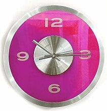 Wanduhr Transparent - Pink | Modern | Wanddekortion Wohnzimmer | Küchenuhr | Design | Geschenk für Männer und Frauen | Preis am Stiel®