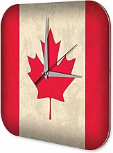Wanduhr Urlaub Reisebüro Deko Kanada Flagge Acryl Uhr Retro