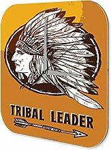 Wanduhr USA Ureinwohner Stammesführer Acryl Deko Wand Uhr