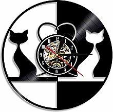 Wanduhr Vintage Design Liebe Katzen beleuchtet