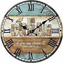 Wanduhr Vintage Lautlos, Likeluk 13 Zoll(34cm) Retro Wanduhr Uhr Wohnzimmer Wall Clock Uhr Ohne Ticken