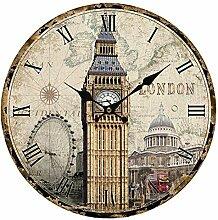 Wanduhr Vintage, Likeluk 13 Zoll(34cm) Modern Lautlos Wanduhr Uhr Wohnzimmer Wall Clock Uhr Ohne Ticken