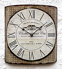 Wanduhr Vintage Uhr Küchenuhr groß antik Metall