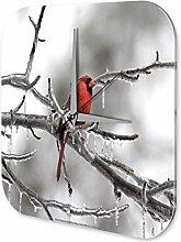 Wanduhr Vogel Kardinalsvogel Acryl Wanddeko Nostalgie Retro