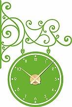 Wanduhr Wandtattoo mit Uhrwerk für Wohnzimmer Ornament Zahlen Schild (Uhrwerk gold//063 lindgrün)