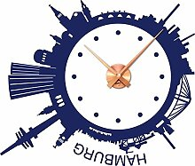 Wanduhr Wandtattoo mit Uhrwerk für Wohnzimmer Skyline Hamburg rund Kreis (Uhrwerk kupfer//049 königsblau)