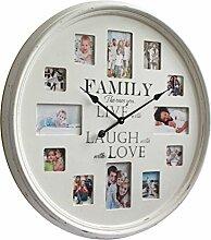 Wanduhr weiß Holz mit Bilderrahmen Uhr mit Fotorahmen im Landhaus Shabby Chic antik look groß Rahmen