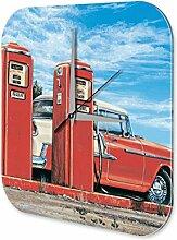 Wanduhr Welt Reise G. Huber Tankstelle US Cars Acryl Wand Deko Uhr Retro