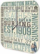 Wanduhr Welt Reise Huntington Beach Acryl Wand Deko Uhr Retro