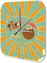 Wanduhr Welt Reise Tiki Bar Acryl Wand Deko Uhr Retro