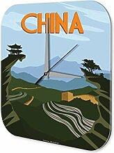 Wanduhr Weltenbummler China Dekouhr Vintage Retro