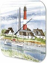 Wanduhr Weltenbummler Marke Nordsee Leuchtturm Dekouhr 25x25 cm