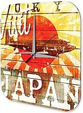 Wanduhr Weltenbummler Marke Visit Japan Dekouhr 25x25 cm