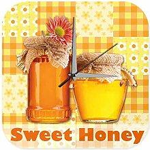 Wanduhr Weltenbummler süßer Honig Honigglas