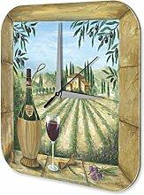 Wanduhr Weltenbummler Wein Landhaus Acryl Dekouhr