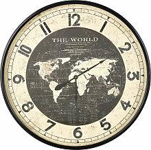 Wanduhr Weltkarte aus Metall, schwarz D96
