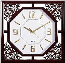 Wanduhr Wohnzimmer square retro Kreative chinesische Familie elektronische Quarzuhr Kalender Wecker hängen sehen, 5.