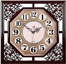 Wanduhr Wohnzimmer square retro Kreative chinesische Familie elektronische Quarzuhr Kalender Wecker hängen sehen, 8.