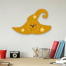 Wanduhr Zauberhut-Gelb, Kinderuhr, Uhr für Kinderzimmer