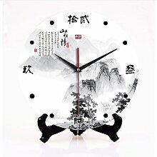 Wanduhren chinesische Keramik kreative große Wände Uhr Wohnzimmer stummt Art Uhr Tinte Landschaft Uhr Tisch, 30cm