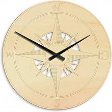 Wanduhren - Holz-Wanduhr Kompass Stern