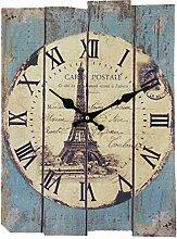 Wanduhren Vintage, Likeluk Holz Lautlos Vintage Wanduhr Uhr Uhren Wanduhr Geräuschlos,30×40cm