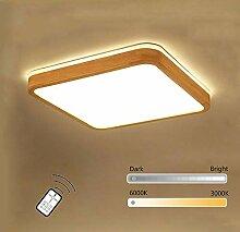 Wandun LED Deckenlampe Modern Aus Holz Rechteckig
