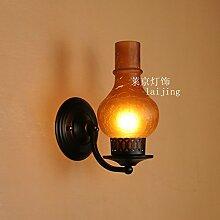 Wandun Schmiedeeisen Amerikanischen Antike Laterne Petroleumlampe,B