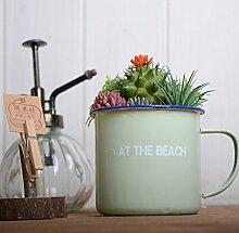 WANG-shunlida Blumen Home Ausstattung Ornamente Retro Zinn Becher Simulation Anzug Schlafzimmer Schreibtisch Fake Topf Fleisch, Kaktus