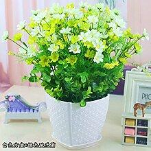 WANG-shunlida Blumen springen Ju LAN Emulation Flower Bonsai Blumentopf Set Tisch Wohnzimmer Inneneinrichtung Dekoration Daisy Flower, N