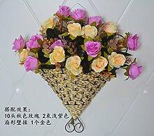 WANG-shunlida Künstliche Blumen die Wand Dekor Schlafzimmer Wand Dekoration Blumen Warenkorb Home Einrichtung Wohnzimmer wurde Blumen, Herbst rose lila apricot Ventilator