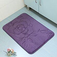 WANG-shunlida Schlafzimmer Home Coral samt Pad Matte langsam Rebound Sanitär saugfähigen Bad rutschfeste Fußauflage, Violett, 40 X 60 Cm