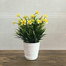 WANG-shunlida Simulation von Pflanzen Pflanzen Heimtextilien kleine dekorative Ornamente Plastiktöpfe Desktop dekorative Blumen Blumen, gelb
