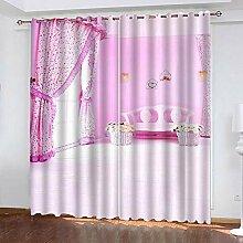 wangcheng1 Rosa-Vorhang Blickdicht Kinderzimmer