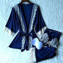 Wanglele Drei In Einem Kimono Bademantel Schlafanzug Drei Anzug Spitze Nachthemd Kleid Kleid Heimtextilien Satin Kleid, Dunkelblau, Xxl
