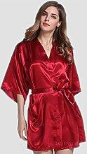 Wanglele Feder Silk Robe Weiblichen Dünne Seide Kleid Kleid Brautjungfer Braut Pure Lady Heimtextilien Kleid, M, Rot/Rot Wein