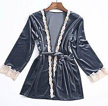 Wanglele Satin Stickerei Kleid Heimtextilien Schlinge Schlafanzug Bademantel Bademantel Bademantel /, Grau, Xl